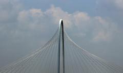 Strung Out Art: Calatrava Bridge (GollyGforce - Living My Worst Nightmare) Tags: bridge blue sky sun art clouds canon dallas community scenery texas steel creative cable santiagocalatrava fascinating xsi 2014 adifferentpointofview margarethunthillbridge
