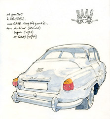Saab, à Gluges (gerard michel) Tags: car sketch saab croquis