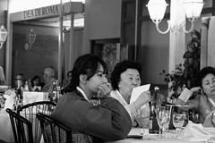 Sguardi (Francesco Borgheresi) Tags: street people bw italy white black rome roma girl restaurant eyes italia korea occhi sguardo korean thoughts ristorante bianco pensieri nero