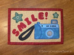 camera_mug_rug (Sher's Creative Space) Tags: camera sewing applique mugrug travelquilt miniquiltquilting appliquetemplates cameraquilt cameraminiquilt cameraapplique cameramugrug
