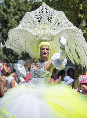 """Vancouver Pride Parade 2014 - 0225 (gherringer) Tags: summer music canada vancouver ruffles fun happy bc wave pride parade colourful hoops sequins headdress vanpride """"west end"""""""