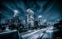 Electric LA Blue (Pixamundo) Tags: california blackandwhite skyline losangeles nikon skyscrapers unitedstates downtownla bluehour dtla d800 110fwy pixamundo