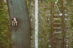 bridge. (angsthase.) Tags: people green bike bicycle sign fence germany deutschland rust tracks streetlife schild nrw grün zaun rost ruhrgebiet dortmund 2014 ruhrpott mft micro43 epl5 olympuspenepl5 olympusm25mmf18