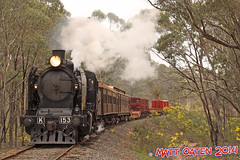 K153 Approaches Pipeline Road (MattOatenVR) Tags: road heritage k train spectacular victorian railway australia victoria class steam lane pipeline castlemaine downunder maldon sinclairs vgr goldfields stean steamrail k190 k153 pheonics