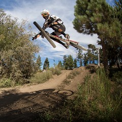 Big Bear Mountain Resorts Bike Park at Snow Summit in Big Bear Lake, California. Nice Jump!