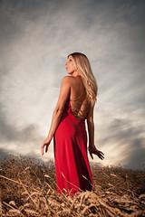 Marie-Claude (Louis Chiasson) Tags: light red portrait sky cloud sexy lady umbrella canon rouge one women dress angle robe wheat wide wideangle ciel 5d portfolio westcott nuage camps 1740mm filed parapluie bl onelight strobist portraitaward yongnuo yn560 rf603
