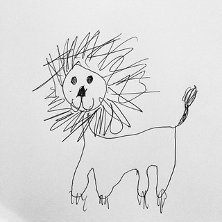 "365/263 • Z just got back up out of bed and drew this for me - makes me think of that great line from 'Madeline & the Gypsies' : ""Excuse me, would you like to try on, this lovely costume of a Lion?"" #2014_ig_263 #6yo #lion #drawing #nowgotobed"
