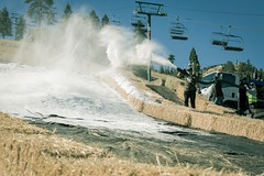 Big Bear Mountain Resorts hosts the 11th Annual HDHR at Bear Mountain in 2014. Blowing Snow onto the Course.