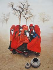 Donne indiane che si riparano dal vento acrilico e olio su tela 135x 95  Foto originale Steve McCurry