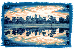 Colour framed Ankor Wat lake view (Neville Wootton Photography) Tags: ankorarchaeologicalpark ankorwat cambodia frames holidays lakescapes mangojouneys topazlabs