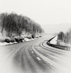Clarysville Bridge on a Winter Morning (Javcon117*) Tags: black white bw roadway interstate 68 i68 west westbound allegany county co maryland md javcon117 frostphotos guardrail snow snowy trees winter wintery haze hazy mystical mystery fog foggy bend