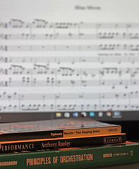 Musicbooks and music software (Susan M Williams) Tags: sibelius books knowledge orchestration
