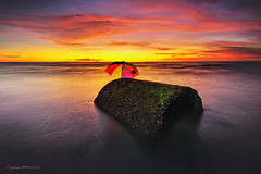 Waiting for the Rain ... (zakies) Tags: longexposure sunset beach rain umbrella for waiting malaysia lowtide mossy sabah sabahborneo nikond700 sabahsunset malaysiansunset zakiesphotography malaysianlanscape zakiesimage batuluangkualapenyu