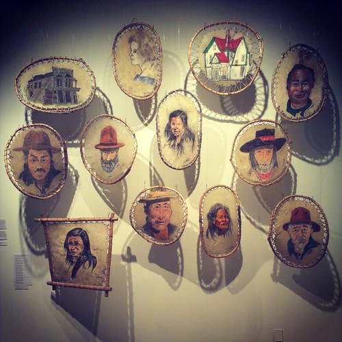 Jim Robb's #Yukon exhibit at the arts centre depicts Whitehorse's colourful history and characters #yxy These portraits are on moosehide.