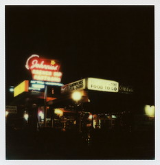 Johnnie's Pastrami Neon (tobysx70) Tags: california ca city toby food hot color dogs sign night project french polaroid sx70 restaurant neon boulevard nocturnal south parking go shrimp diner illuminated hamburgers tip steak to cocacola lit sonar hancock dip protection sandwiches blvd sepulveda pastrami johnnies impossible culver px70 theimpossibleproject tobyhancock impos