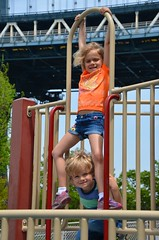 The Kids And The Manhattan Bridge (Joe Shlabotnik) Tags: bridge playground brooklyn violet manhattanbridge everett 2014 faved afsdxvrzoomnikkor18105mmf3556ged may2014