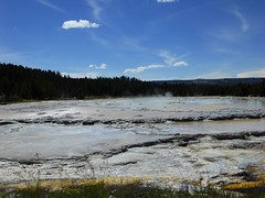 Firehole Lake Drive (area where the road melted) (erintheredmc) Tags: road park trip summer vacation lake holiday tourism nature drive scenery fuji loop erin july roadtrip tourist adventure national finepix yellowstone melted mccormack geysers 2014 repaired firehold f550exr