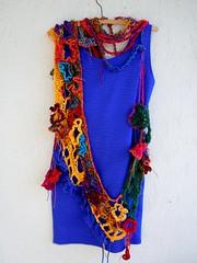 The Bollywood Connection / wearable sculpture (MizzieMorawez) Tags: urban sculpture ambient fusion kamikaze playful multicolor versatile streetwear sarisilk bodypiece fibersculpture lagenlook anarchiccrochet experimentalfreeform neckpieve