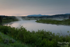Whisps of fog rise from the Snake River