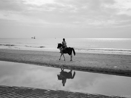 Morning ride, Hua Hin beach, Thailand (030714-OMD-68BWFX)