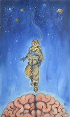 The Scaphandre (John-Portfolio) Tags: art painting space traditional brain suit oil planets diver scaphandre