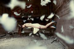 Sleepwalking (bradleachphotography) Tags: portrait woman abstract female ellen feathers floating levitation dennis sleepwalking 5dmarkii