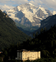 "A hotel in Interlaken in front of mountain Jungfrau • <a style=""font-size:0.8em;"" href=""http://www.flickr.com/photos/125767964@N08/14955459461/"" target=""_blank"">View on Flickr</a>"
