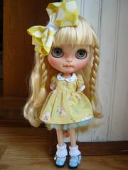 IMG_0725...Sweet Daisy Mea in her new dress with kitten print. Like sunshine!