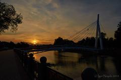 Kharkov sunset (Igor Nayda photochronik) Tags: bridge sunset summer river evening boat cityscape waterfront sundown riverside ukraine kharkov embankment kharkiv    boatstation reflectionsky    riverpromenade  reflactiontrees photochronik igornayda