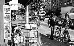 Stockholm, 1994 (Per sterlund) Tags: street city people urban blackandwhite bw man film car bike bicycle analog walking town blackwhite cyclist sweden stockholm sdermalm working streetphotography sunny pedestrian sverige 1994 scandinavia 2014 urbanlifeinmetropolis