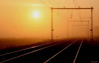 sunrise over the misty train track (Explored)