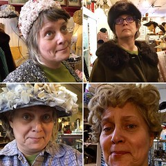 The many looks of #antiquemall #shopping. #vintage #versatile #ridiculous #silly #hats #wig #fun (Rochelle, just rochelle) Tags: instagramapp square squareformat iphoneography uploaded:by=instagram selfie fabulous poppintags antiquemall vintage posing playacting fun wig hats shopping