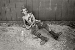 noah takes a break (Ben Rains) Tags: blackandwhite film 35mm pixfest pixfest2014 planitx portrait upthepunx mohawk benrains diypunk