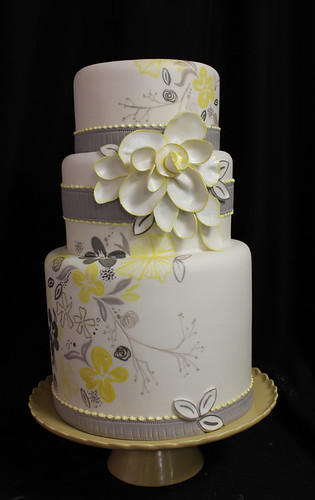 Gray Yellow Flower Painted Wedding Cake