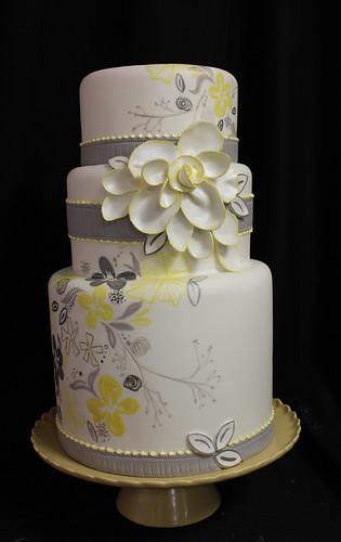 Gray Yellow Flower Painted Wedding Cake