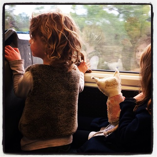 365/187 • on the train, heading to the Nana's house for their first sleepover there together • #2014_ig_187 #6yo #3yo #saturdaymorning  #sleepover