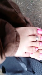 My toes are pink :) (awesomnesslol666) Tags: pink shiny toes neon shine pedicure toering toenails pedi