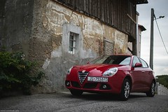 Alfa Romeo Giulietta (Ivan Klindi) Tags: old red house field car canon 50mm design automobile dof f14 sigma automotive alfa romeo vehicle shallow depth hatchback giulietta 6d