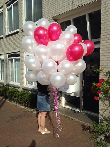 Heliumballonnen Metallic Fuchsia en Wit
