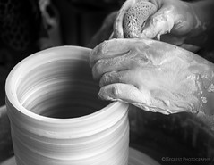 (JSegrest1123) Tags: blackandwhite bw wheel hands ceramics farmersmarket clay throwing