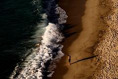 [ Vinto - Defeated ] DSC_0154.2.jinkoll (jinkoll) Tags: sunset shadow sea man beach waves alone footprints calabria backwash tropea