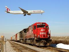 Trains, Planes.... (Adam Weddle) Tags: railroad railway trains canadianpacific sooline qatar freighttrain bensenvilleillinois emdsd60 soo6044