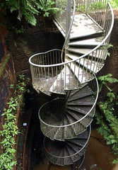 Twisted outdoor staircase *EXPLORED* (Tony Worrall) Tags: county uk england art metal spiral photo tour place steel yorkshire country north steps deep twist down visit location staircase item twisted midlands instillation
