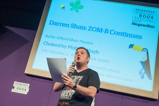 Darren Shan on stage at the 2014 Edinburgh International Book Festival