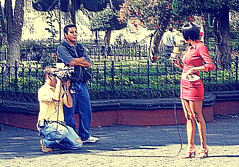 ee (Yacko kelina) Tags: show red film girl mxico person tv rojo chica cam micro coyoacn