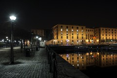 In the still of the night (alundisleyimages@gmail.com) Tags: longexposure tourism architecture night liverpool buildings reflections streetlight nightlights streetscene cobbles albertdock attraction merseyside salthousedock nikond7100