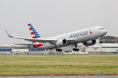 N388AA B767-323/ER American Airlines (kw2p) Tags: canon scotland glasgow boeing americanairlines paisley takeoff gla diversion b767 glasgowairport egpf b767323 eos7d n388aa kw2p