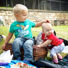 Toddler and a baby (4polinka) Tags: park family boy red summer two people baby playing cute green fall nature girl laughing season fun outdoors happy kid toddler funny picnic child hand basket ride sister eating brother joy together carry barrow helping