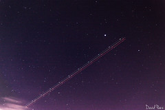 Star Cluster and Trajectory of An Airplane (Davidpaez27) Tags: stars clusterofstars cluster sky airplane longexposition