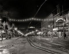 Falls Street at Night, Niagara Falls, 1908 (Peer Into The Past) Tags: peerintothepast 1908 vintage history niagarafalls blackandwhitephotography nightphotography newyorkphotography newyork